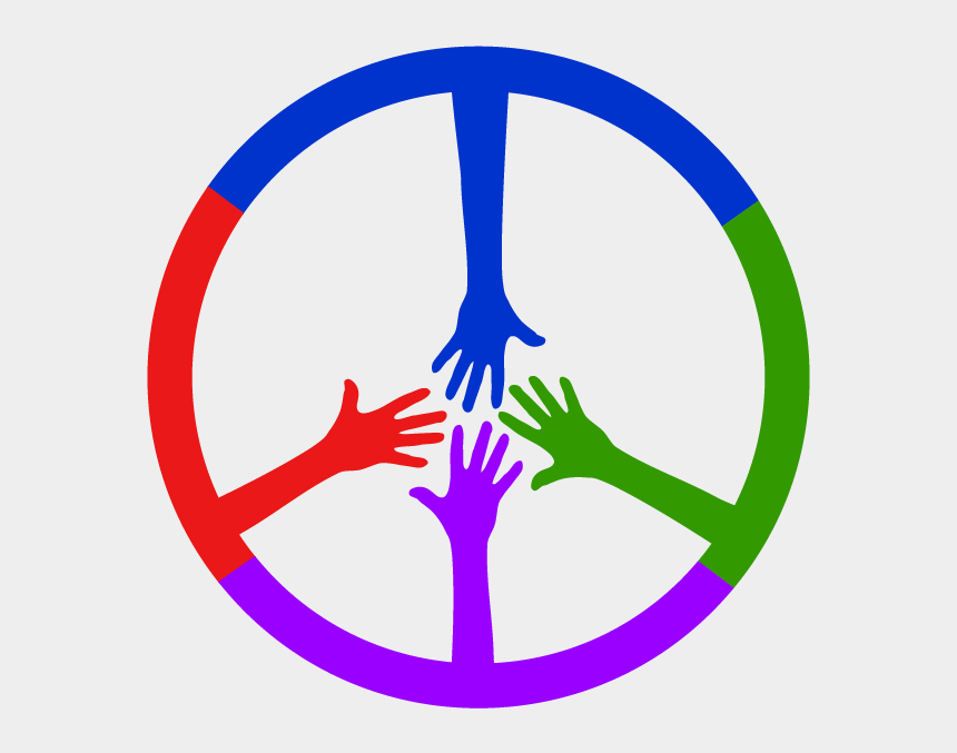 colored hands clipart, Cartoons - 4 Colored Hands Coming Together To Form A Peace Sign - Range Rover Classic Steering Wheel