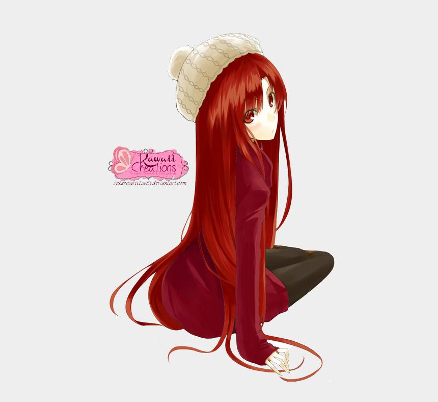 girl with long hair clipart, Cartoons - 500 X 707 8 0 - Cute Anime Girl With Red Hair