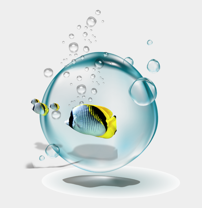 fish with bubbles clipart, Cartoons - #ftestickers #water #bubbles #fish #yellow - Water