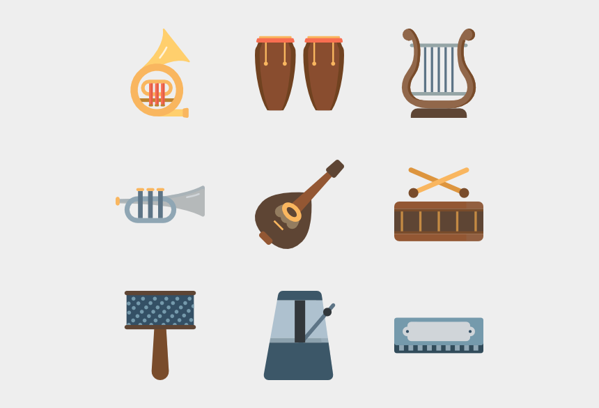 music clipart color, Cartoons - Color Musical Icons - Musical Instrument Icon Png