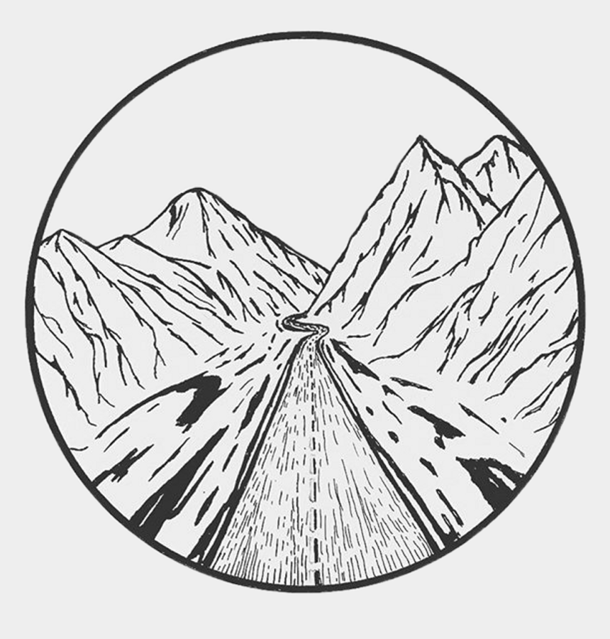 mountain sketch clipart, Cartoons - Mountain Travel Indie Aesthetic - Black And White Aesthetic Drawing