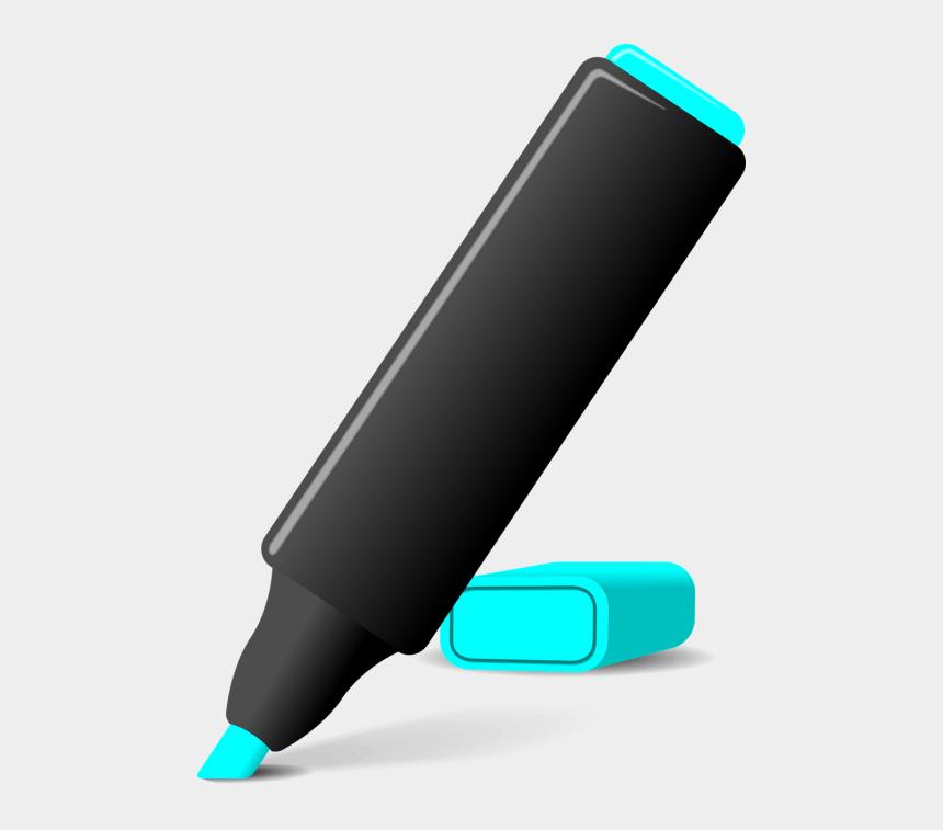 highlighter clipart black and white, Cartoons - Blue Highlighter Pen