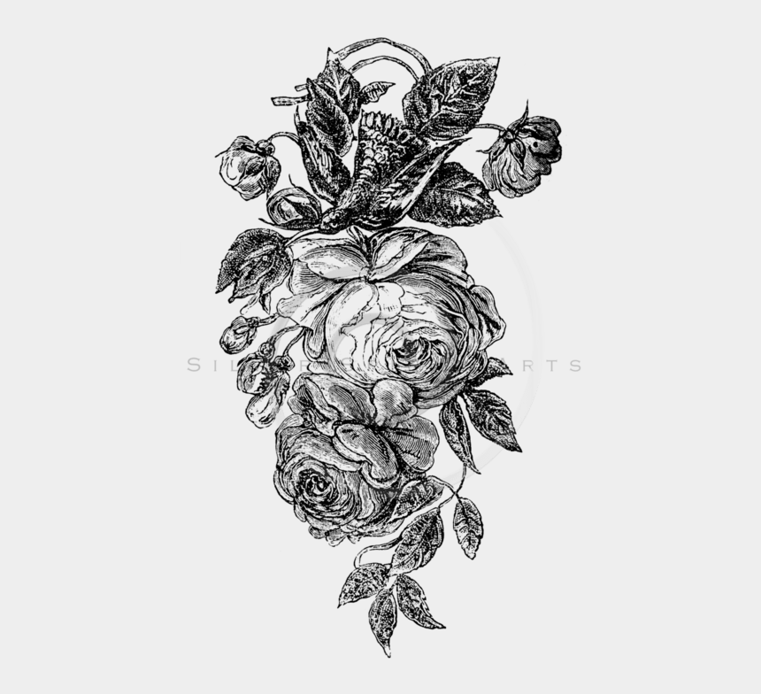 rose bouquet clipart black and white, Cartoons - Flower Sketch Png - Transparent Roses Png Black And White