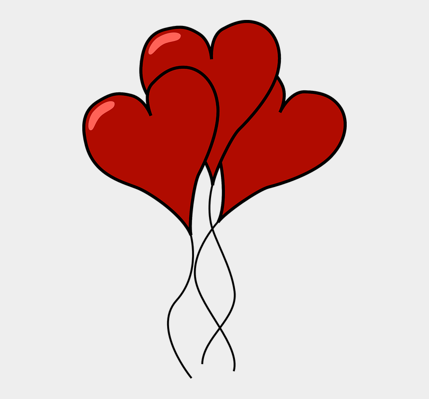 valentine balloons clipart, Cartoons - Valentine Heart Balloon Love Party Floating - Clip Art Heart Balloons