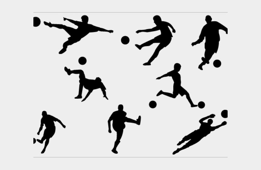 football player clipart, Cartoons - Footballer Clipart Silhouette - Free Vector Soccer Player