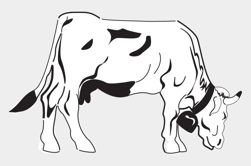cow clipart black and white, Cartoons - Cow Grazing Eating - Desenho De Uma Vaca Comendo