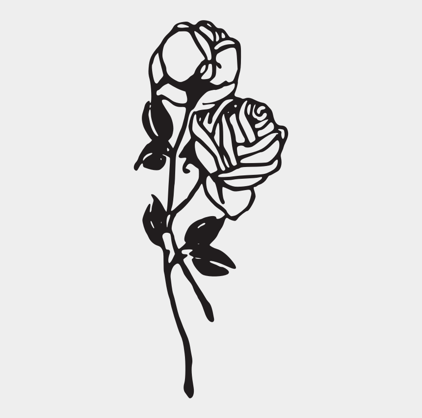 rose clipart black and white, Cartoons - Rose Black And White Black And White Rose Clip Art - Black And White Rose Tattoo Png