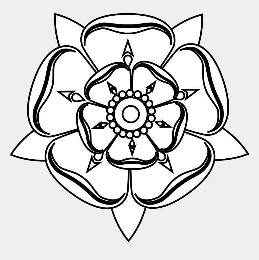 rose clipart black and white, Cartoons - Black And White Rose Clipart - Tudor Rose To Colour