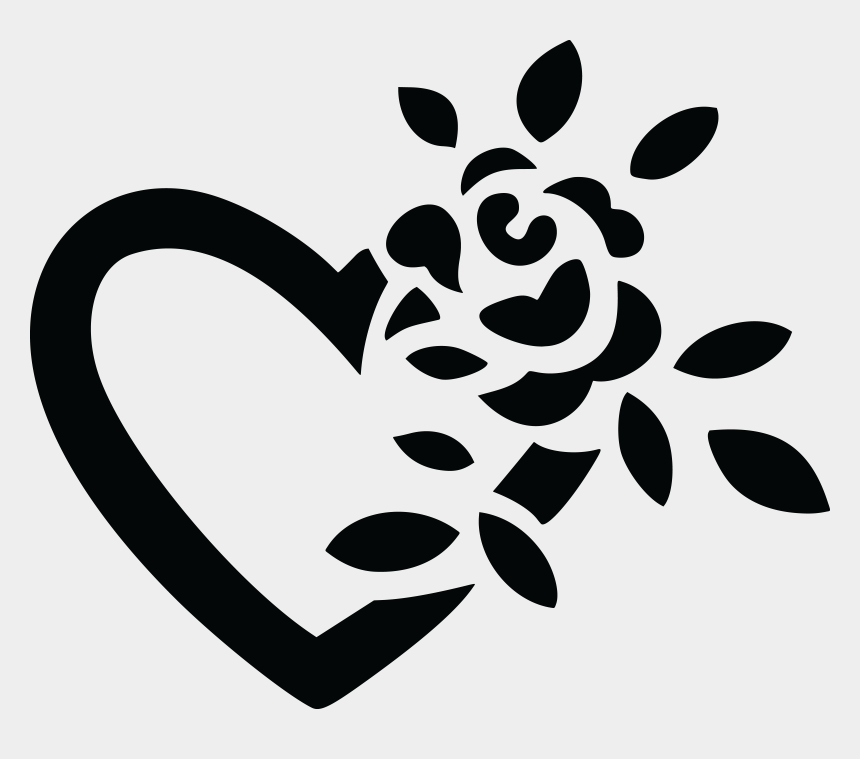 flower clipart black and white, Cartoons - Floral Clipart Symbol - Clipart Hearts And Flowers Black And White