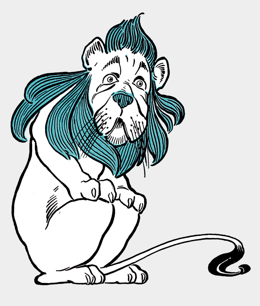lion clipart black and white, Cartoons - Wonderful Wizard Of Oz Cowardly Lion