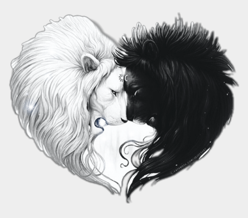 lion clipart black and white, Cartoons - #lionheart #lion #heart #lionlovers #sun #moon #black - Drawings Of A Lion And Girl
