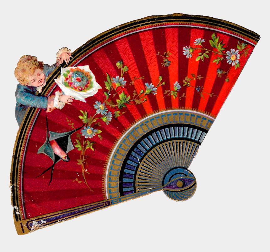 fan clipart, Cartoons - Fan Victorian Image Illustration Flowers Romantic Clipart - Floral Design