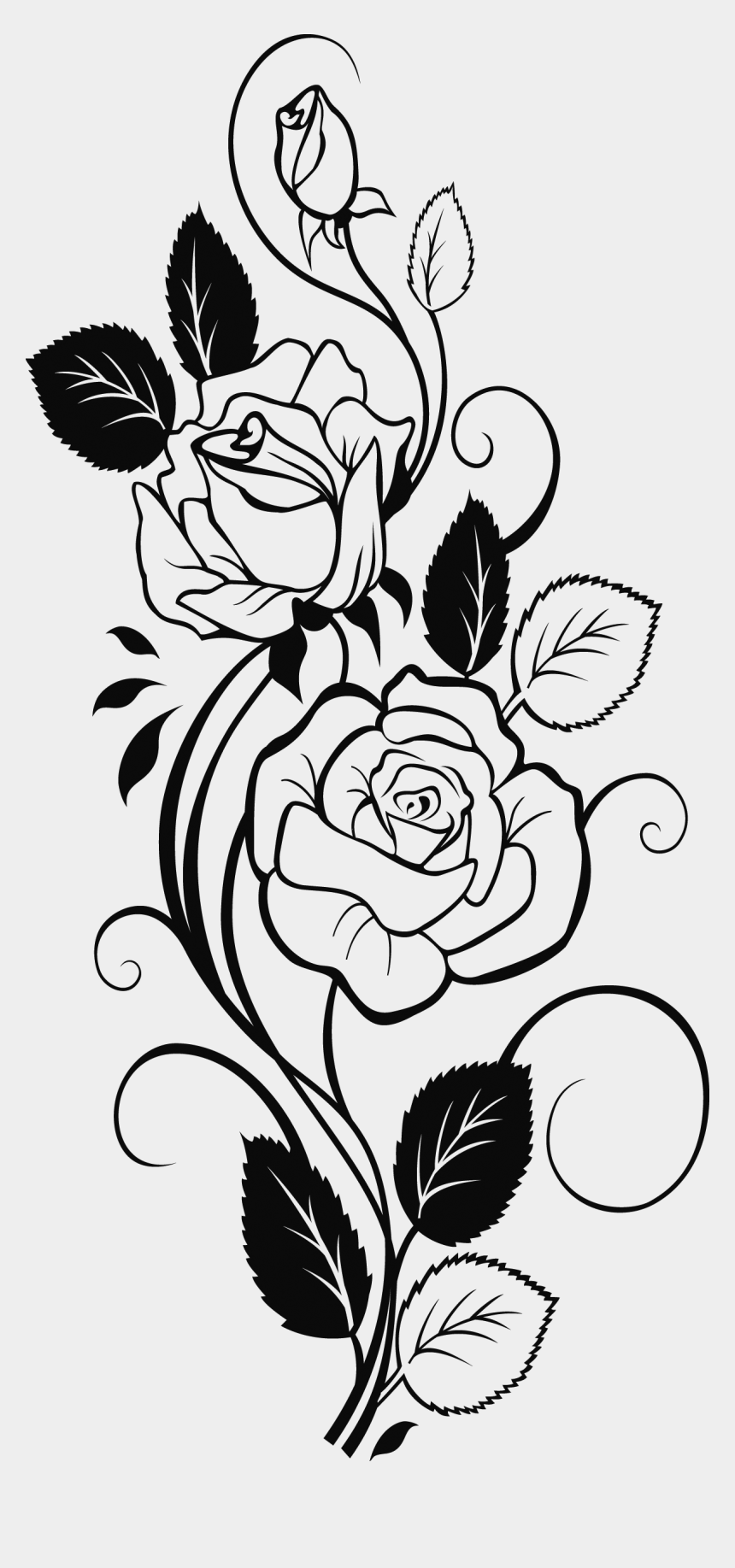 rose clipart black and white, Cartoons - 0 Cc6b5 917fb53d Orig Pyrography, Rose Stencil, Rose - Rose Flower Design Drawing