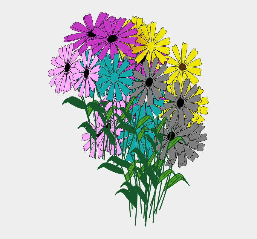 flower bouquet clipart, Cartoons - Flowers Bouquet Blooms Blossoms Colorful Spring - Real Flower Blooming Clipart