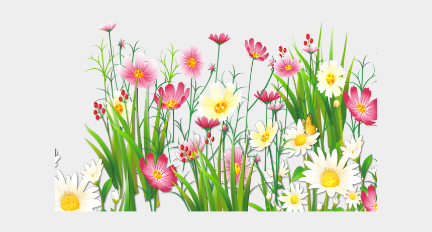 spring clipart, Cartoons - Spring Clipart Shopping - Grass And Flowers Png