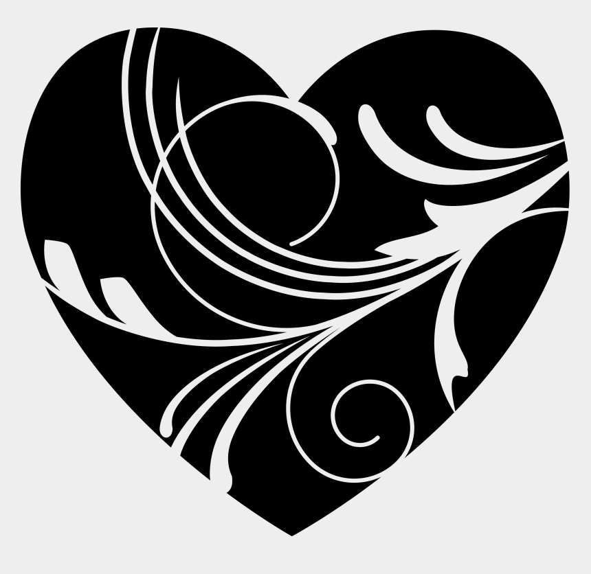 heart clipart, Cartoons - Black Heart Png - Fancy Heart Black And White