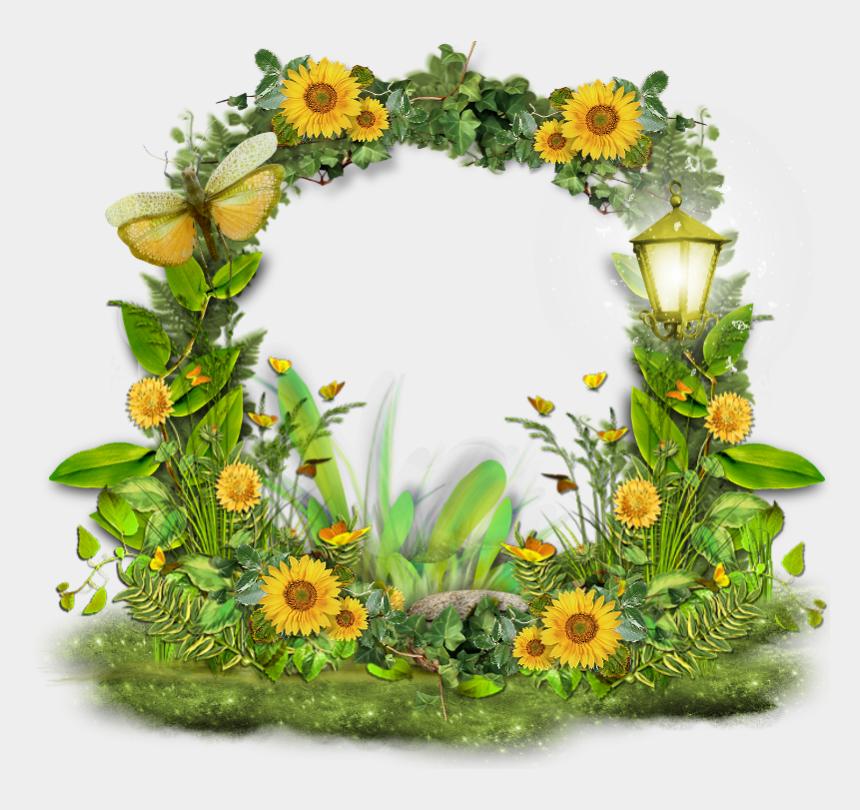 sunflower bouquet clipart, Cartoons - Sunflower Frame Clipart - Yellow And Green Flowers Frames Png