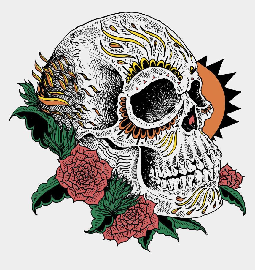 day of the dead flowers clipart, Cartoons - Day Of The Dead Skull Print - Dia De Los Muertos Skull