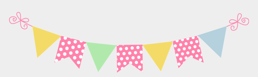 polka dot triangle banner clipart, Cartoons - Bandeirinhas Sticker - Transparent Background Pink Bunting Clipart
