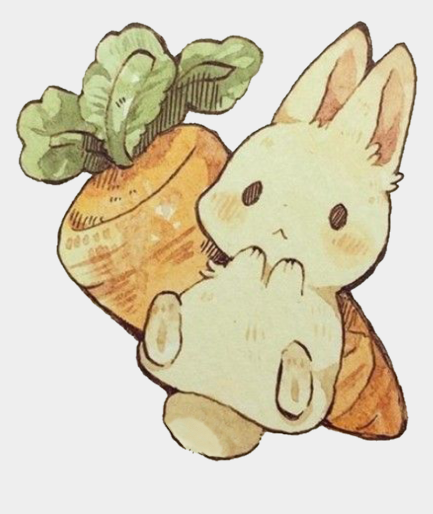 bunny with carrot clipart, Cartoons - #sccarrot #carrot #kawaii #rabbit #bunny #bunnyrabbit - Anime Rabbit Drawing