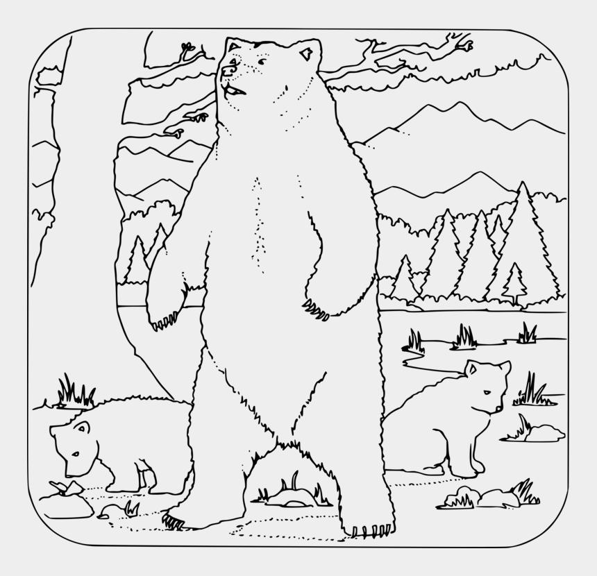 alaska animals clipart, Cartoons - American Black Bear Polar Bear Grizzly Bear Alaska - Bear In The Woods Coloring Page