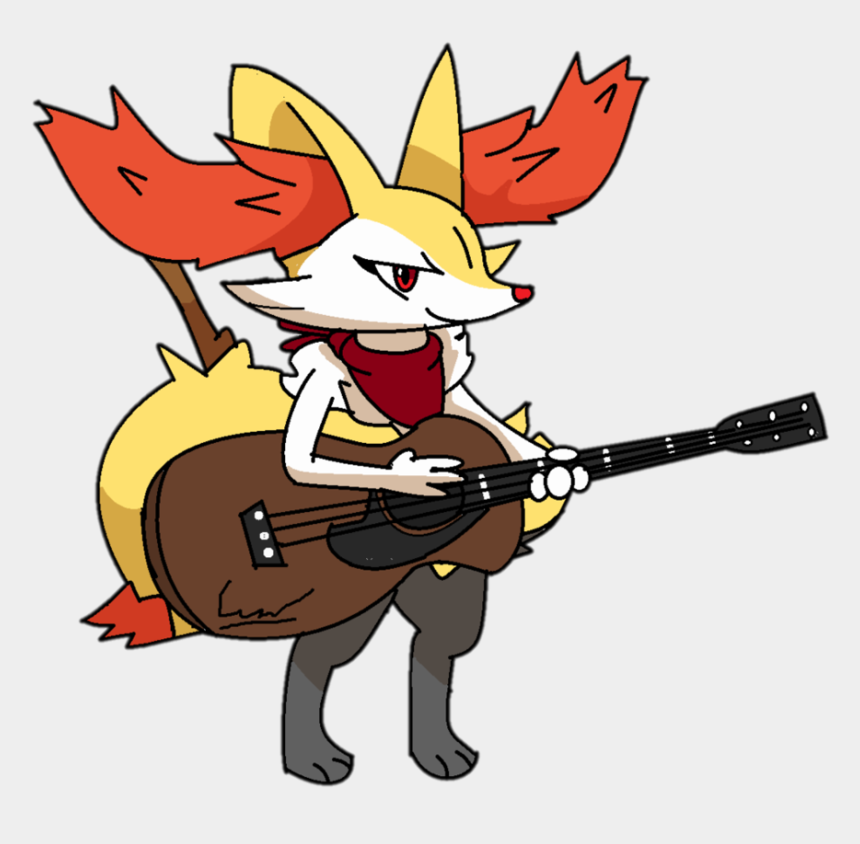 man playing guitar clipart, Cartoons - Braixen Plays Ocean Man - Braixen With A Guitar