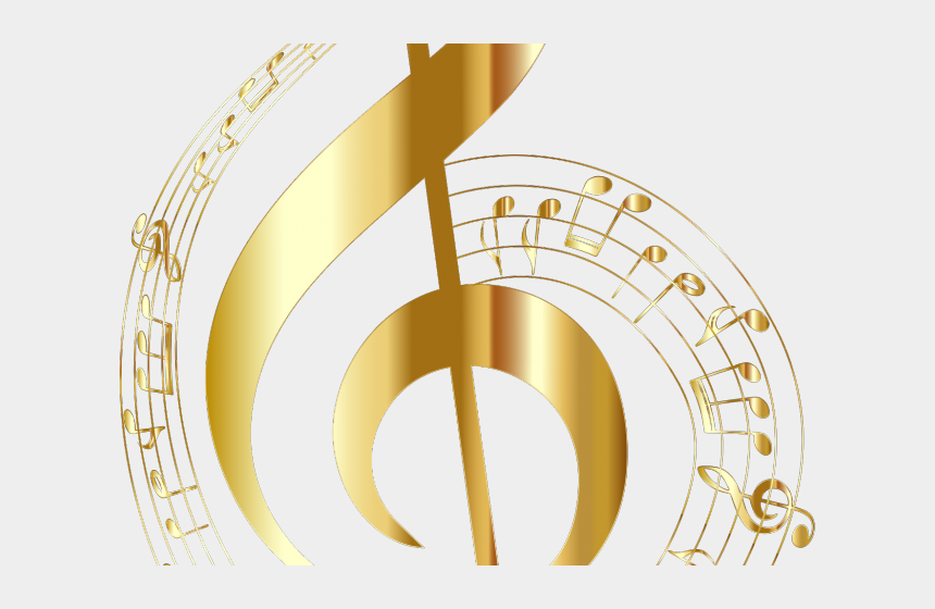 gold music notes clipart, Cartoons - Musical Notes Clipart Not - Clave De Sol Png
