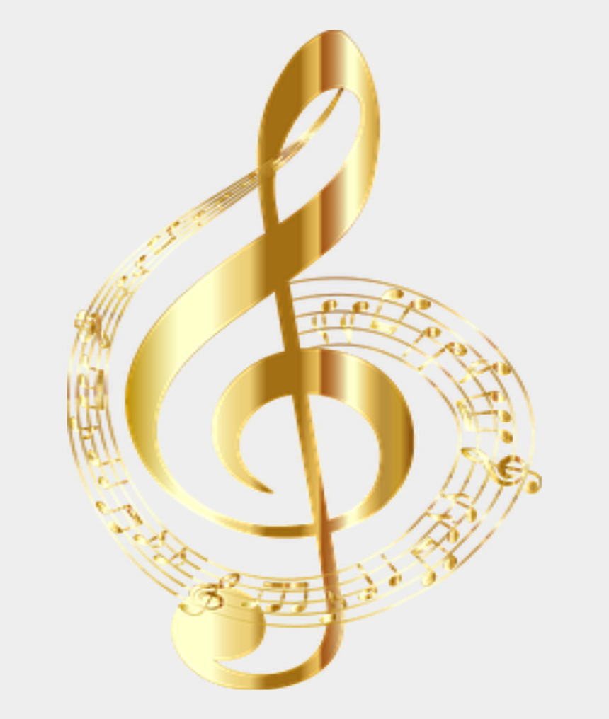 gold music notes clipart, Cartoons - #music #notes #musicnotes #gold - Clave De Sol Png