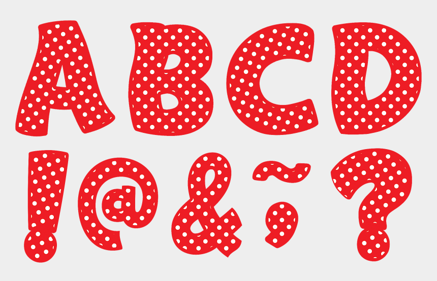 "polka dot line clipart, Cartoons - Red Polka Dots Funtastic Font 3"" Magnetic Letters - Black Letters With With Dots"