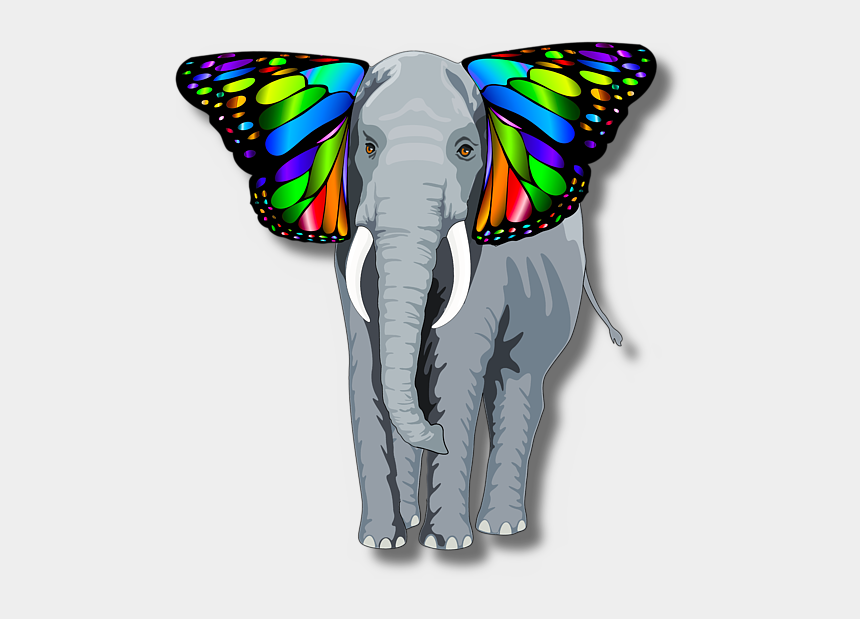 elephants holding tails clipart, Cartoons - Bleed Area May Not Be Visible - Elephant With Butterfly Ears