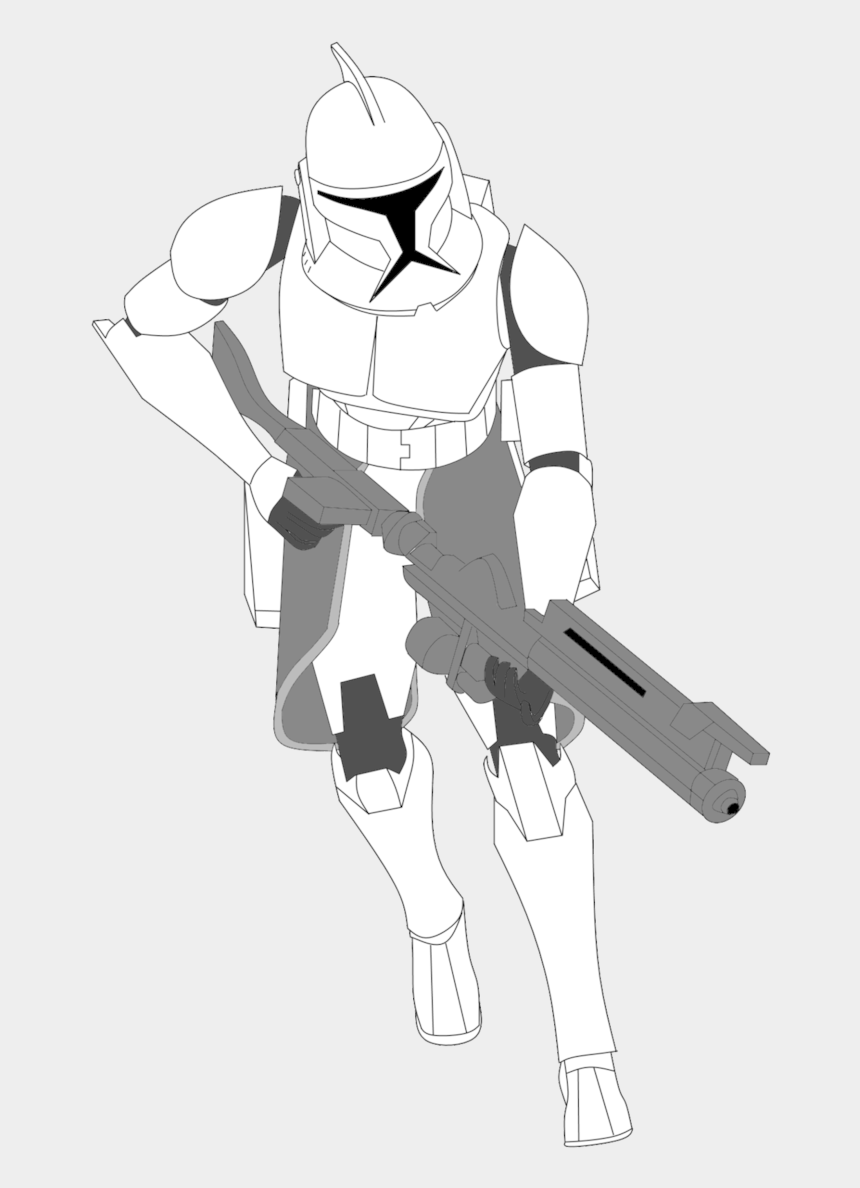 clone trooper clipart, Cartoons - Clone Trooper With Kama And Dc 15a By Fbombheart - Clone Trooper Line Drawing