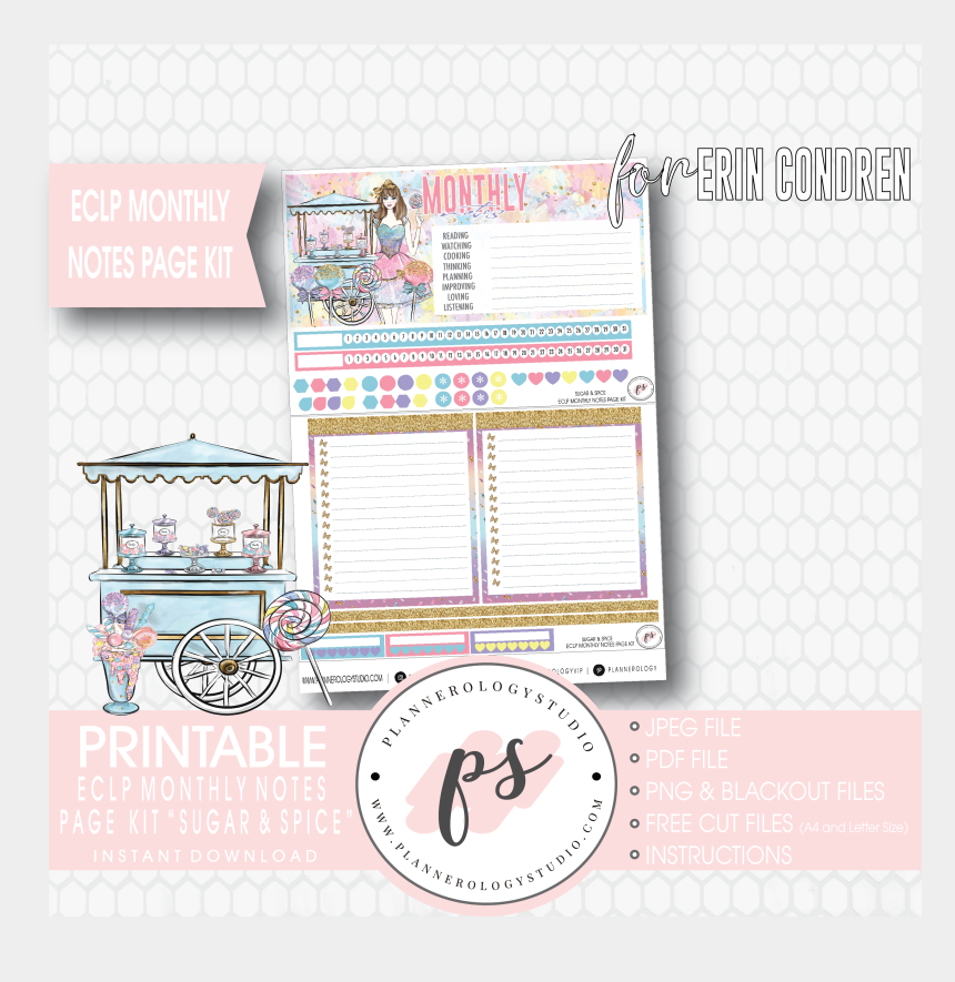 picture relating to Printable Notes Page known as Sugar Spice Every month Notes Webpage Package Electronic Printable