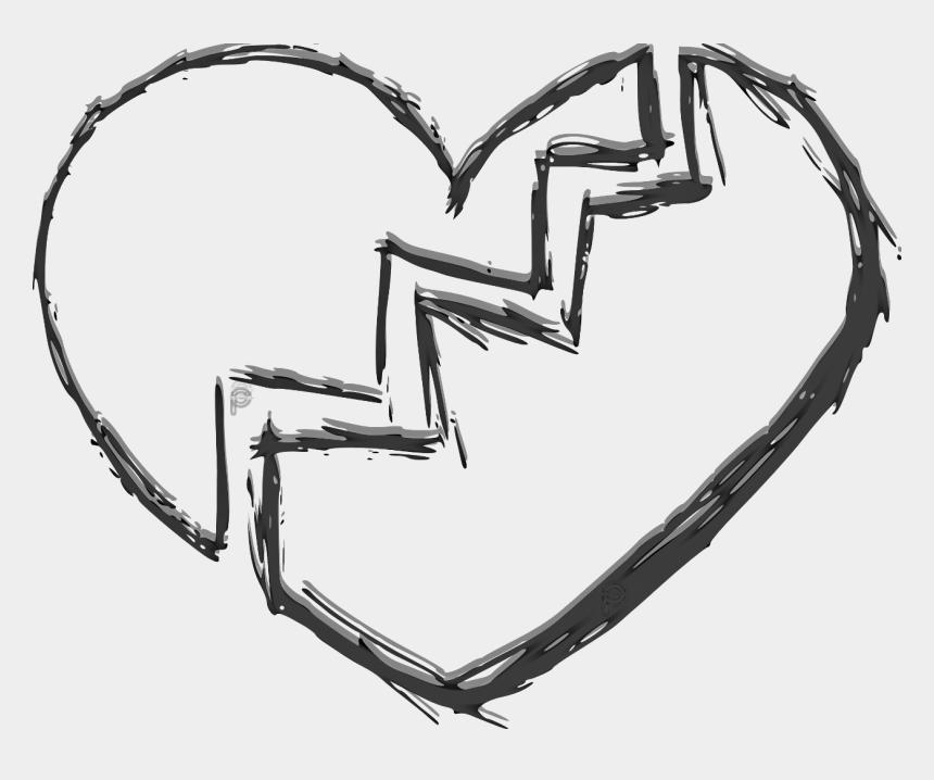 broken heart clipart black and white, Cartoons - Broken Heart Transparent Background