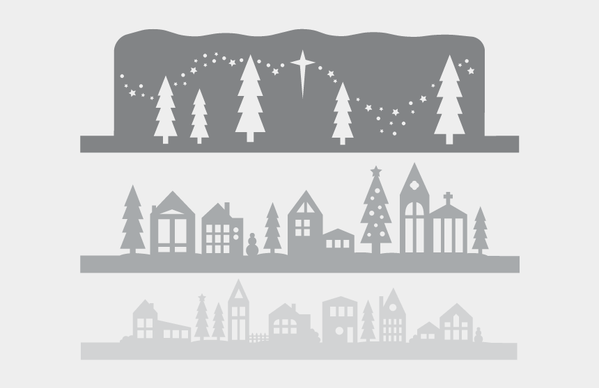 winter wonderland clipart black and white, Cartoons - Winter Village Paper Cut Out