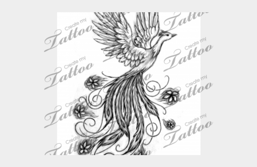 ink clipart black and white, Cartoons - Phoenix Tattoos Clipart Black Ink - Phoenix With Flowers Tattoos