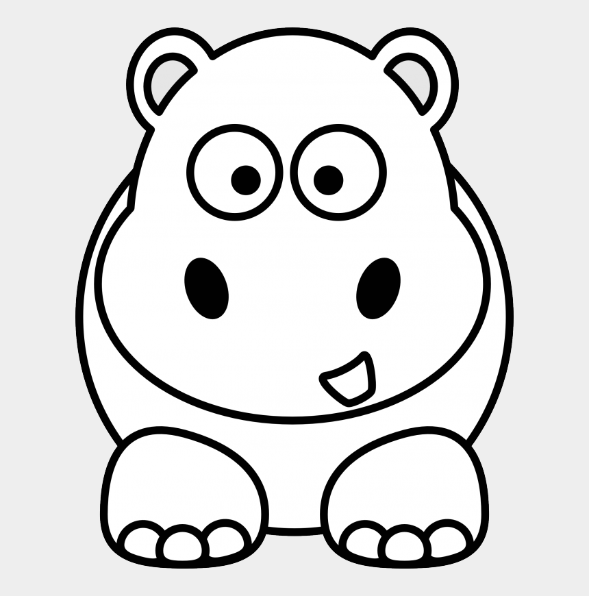 Hippo Black White Line Art Christmas Xmas Stuffed Animal