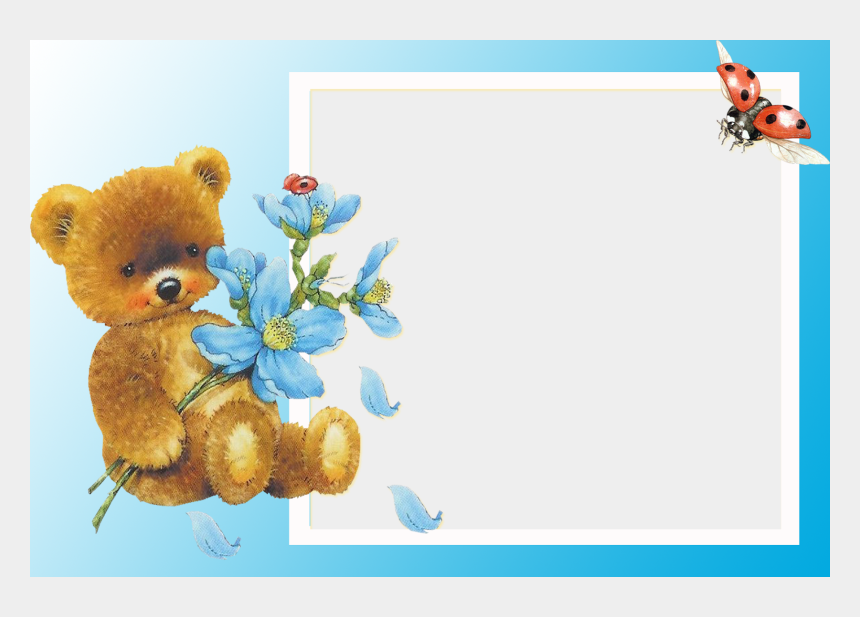 baby teddy bear clipart, Cartoons - Transparent Clipart Image Baby Picture Frame With Teddy - Happy Birthday Glitter Dana