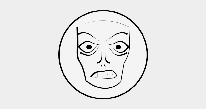 angry face clipart black and white, Cartoons - Smiley Face Anger Facial Expression Download - Angry Drawing Face Mask