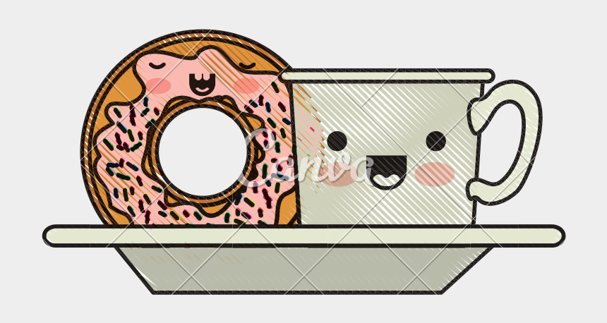coffee and doughnuts clipart, Cartoons - Coffee Cup Clipart Kawaii - Dona Y Cafe Kawaii