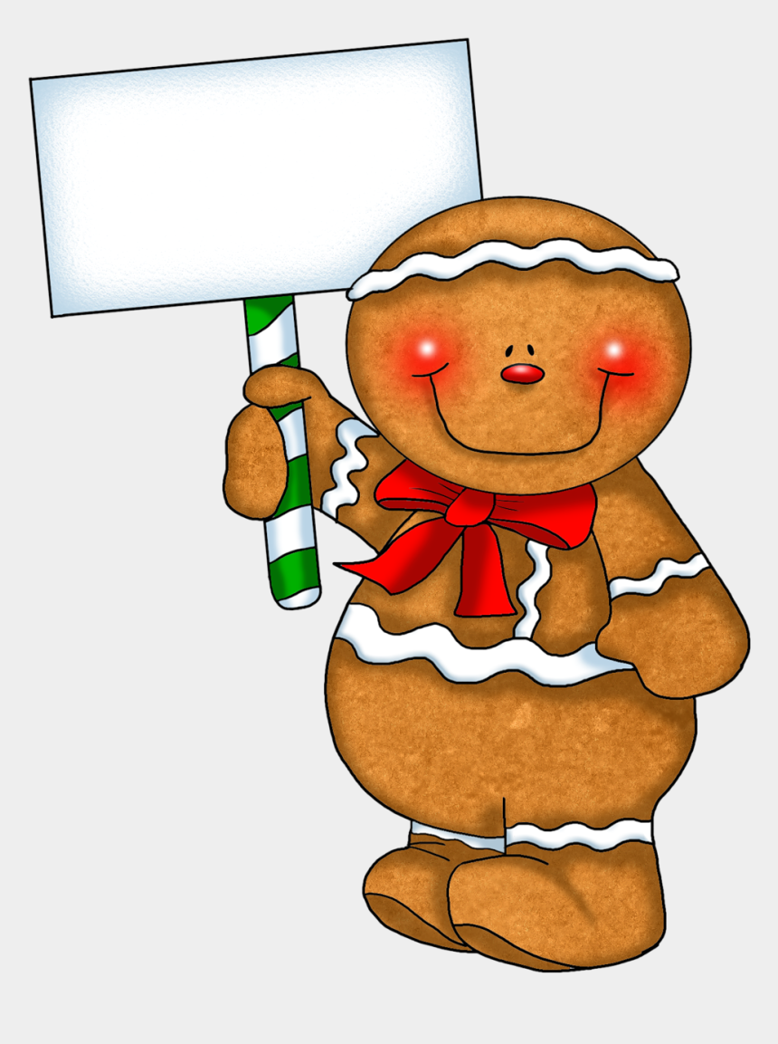christmas cookies clipart, Cartoons - Christmas Gingerbread Cookies Clipart - Gingerbread Man Holding A Sign