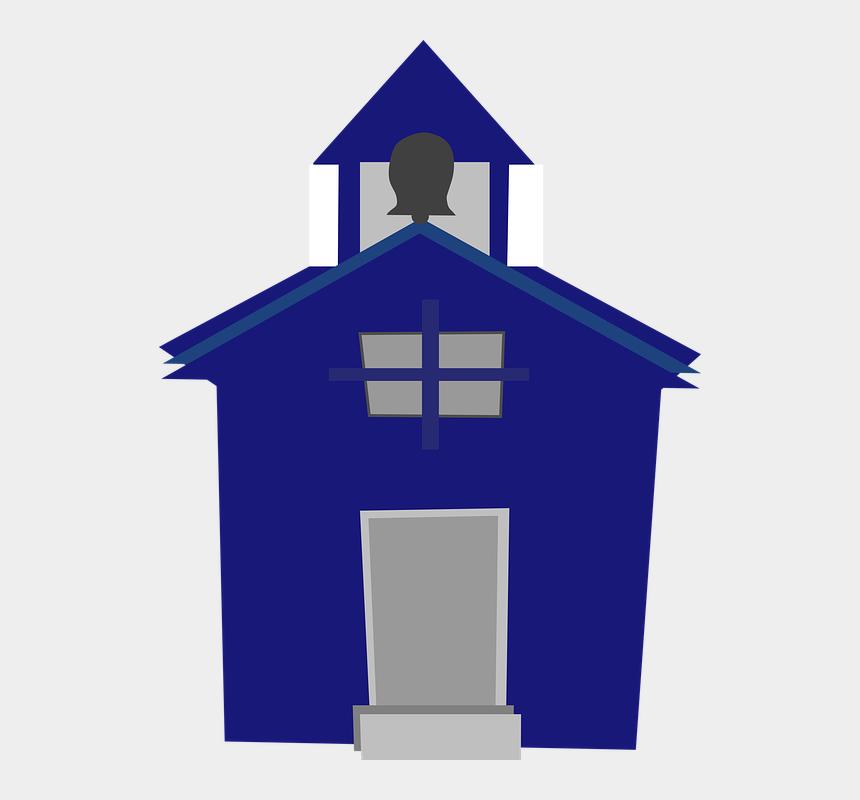 school house clipart, Cartoons - School House Bell Tower Front Door Blue - School House Clip Art Blue