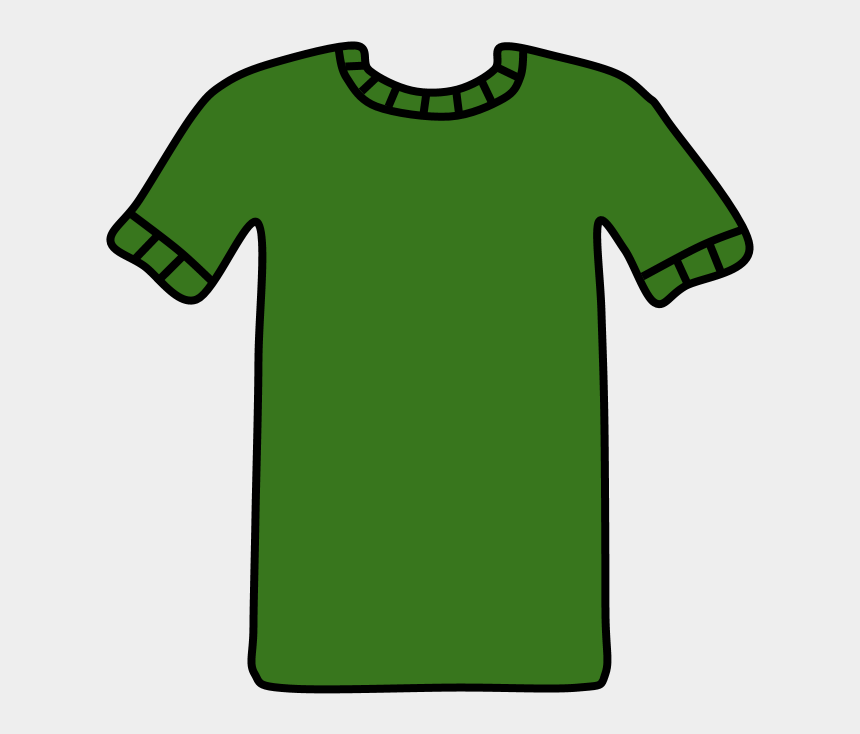 green t shirt clipart, Cartoons - T-shirt, Collar And Sleeve Striped Detail, Green, - Illustration