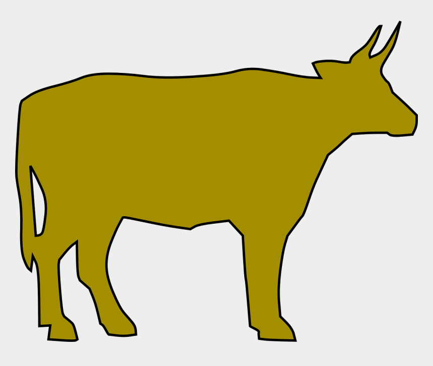 cow silhouette clipart, Cartoons - Yellow Cow Drawing