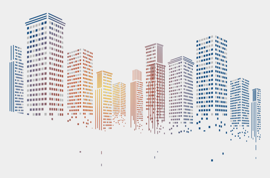 futuristic city clipart, Cartoons - #city #skyscrapers #buildings #ftestickers - Building Background Vector Png