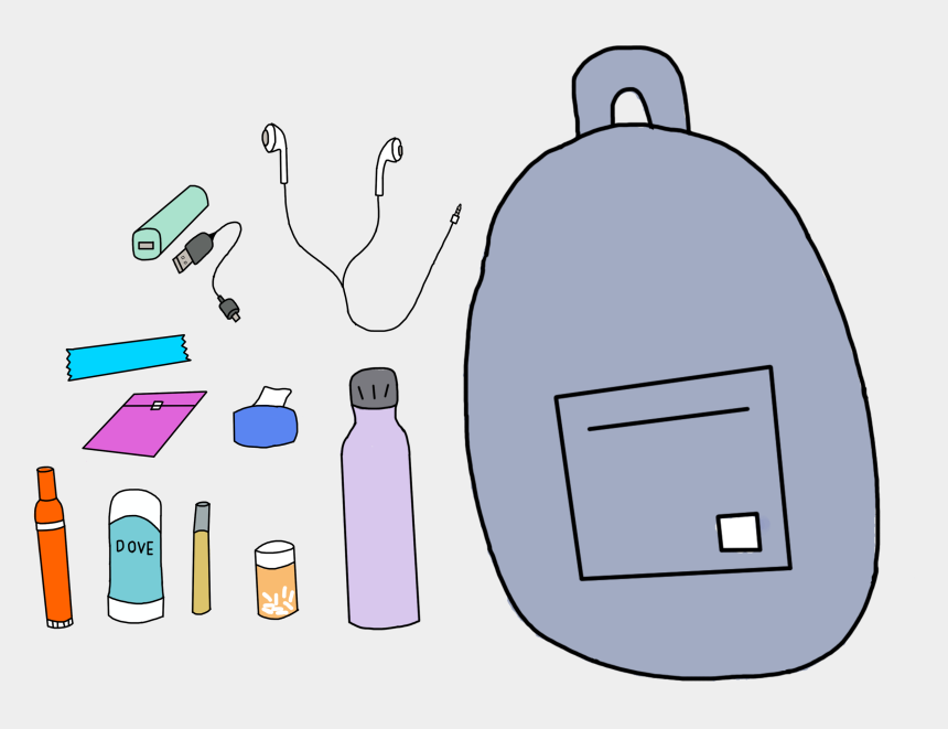 packing backpack clipart, Cartoons - Back To School Backpack Necessities
