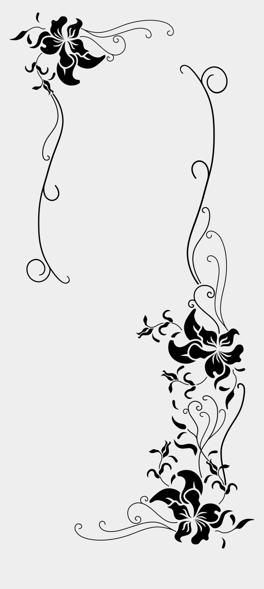black and white vintage floral clipart, Cartoons - - Black And White Floral Borders , Png - Vintage Flower Clipart Png Black And White