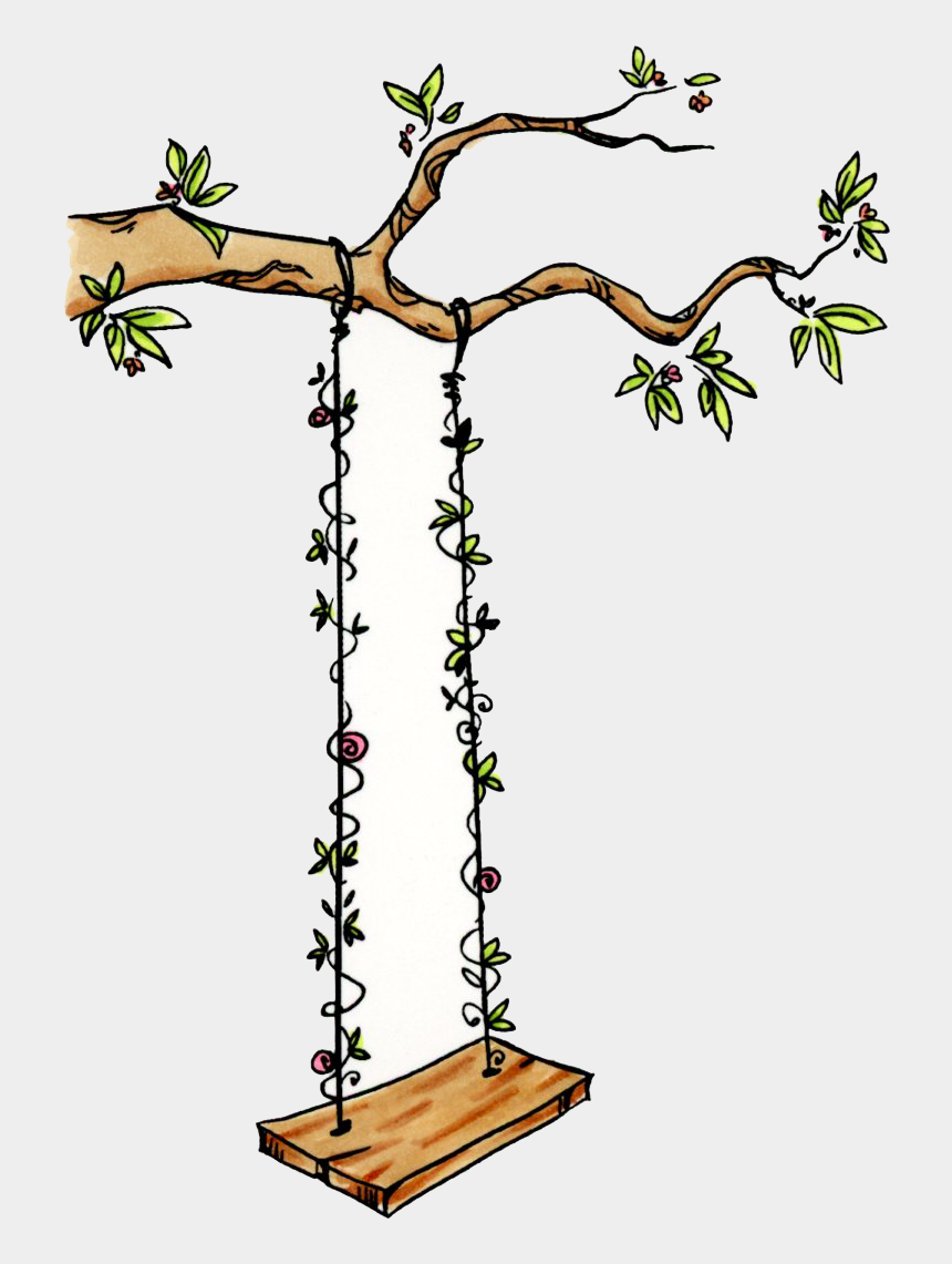 tree with tire swing clipart, Cartoons - Tree Swing 1106-01 - Tree With A Swing Drawing