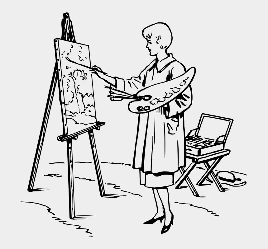 artist easel clipart, Cartoons - Art Artist Easel For Use Girl Lady Money Paint - Painter Black And White