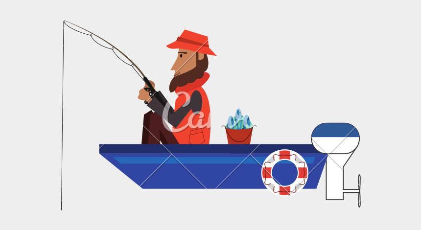 free fisherman clipart, Cartoons - Fishing Clip Man - Flat Design Fishing Boat