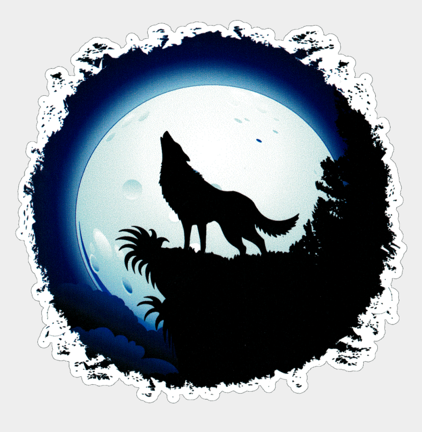 endangered species clipart, Cartoons - Full Moon Wolf - Wolf Howling At The Moon Drawing Easy